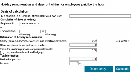 Calculate holiday pay for hourly and weekly paid employees - Virk | Indberet